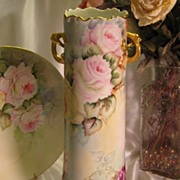 "SOLD Gorgeous �Tea Roses Handled Vase�' Large 15"" Tall Antique Hand Painted Limoges Franc"