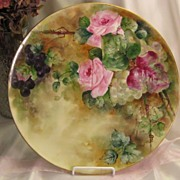 "SOLD ""ROMANTIC TEA ROSES w LUSCIOUS GRAPES"" Large 13-5/8"" Antique Limoges Franc"