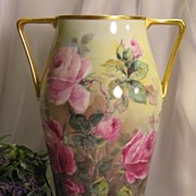 ~ TRULY REMARKABLE LARGE VICTORIAN TEA ROSES VASE ~ Gorgeous Antique Hand Painted Bavarian Flo