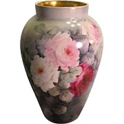 Absolutely Stunning ~ MAGNIFICENT Limoges France Hand Painted Antique MAMMOTH VASE Large Pink