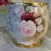 "SOLD ""VICTORIAN FRENCH GORGEOUS PINK and BURGUNDY ROSES"" Hand Painted Unmarked Limog"