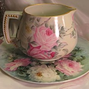 PINK & WHITE TEA ROSES Antique Limoges France Jean Pouyat JP L Cider Pitcher c.1900 Hand Paint