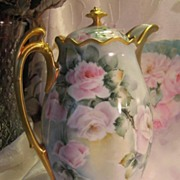 "SOLD Exquisite & Stunning ""Victorian Roses"" 1900's Hand Painted MZ Austria CHOCOLATE"