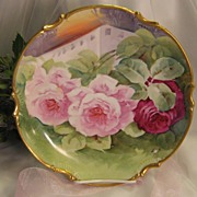 """BREATHTAKING FRENCH TRIO OF ROSES"" Gorgeous Antique Limoges France Hand Painted Dec"