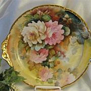 """WHITE and PINK ROSES"" LIMOGES MASTERPIECE Antique Hand Painted Cake Plate ~ Handled"