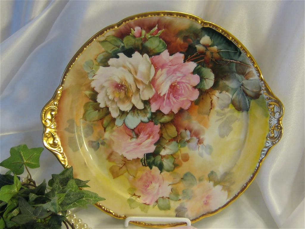 &quot;WHITE and PINK ROSES&quot; LIMOGES MASTERPIECE Antique Hand Painted Cake Plate ~ Handled Serving Tray Signed by BLANCHE LENZI Norristown PA Respected Talented Favorite of All Victorian Roses Artists Original Handpainted Floral Artwork on French Porcelain