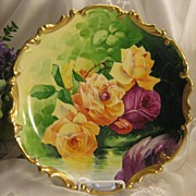A Springtime Beauty ~ CLASSIC LIMOGES FRENCH ROSES ANTIQUE PLAQUE Victorian Floral Art France
