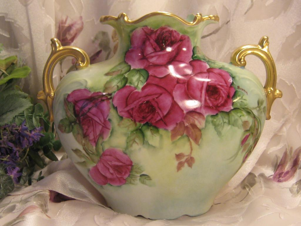 Gorgeous &quot;Winter and Summer Tea Roses&quot; ~ Antique Limoges France Victorian Hand Painted French Pillow Vase Jean Pouyat Fine Porcelain Artist Signed with Gorgeous Burgundy Red ~ Pink ~ Yellow Roses circa 1891