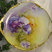 ABSOLUTELY STUNNING PANSIES ~ Exceptional Victorian Period Heirloom Antique Limoges France Han