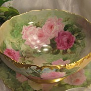 SOLD Gorgeous Drop Dead PINK and BURGUNDY Roses Antique Limoges France Hand Painted Punch Bowl