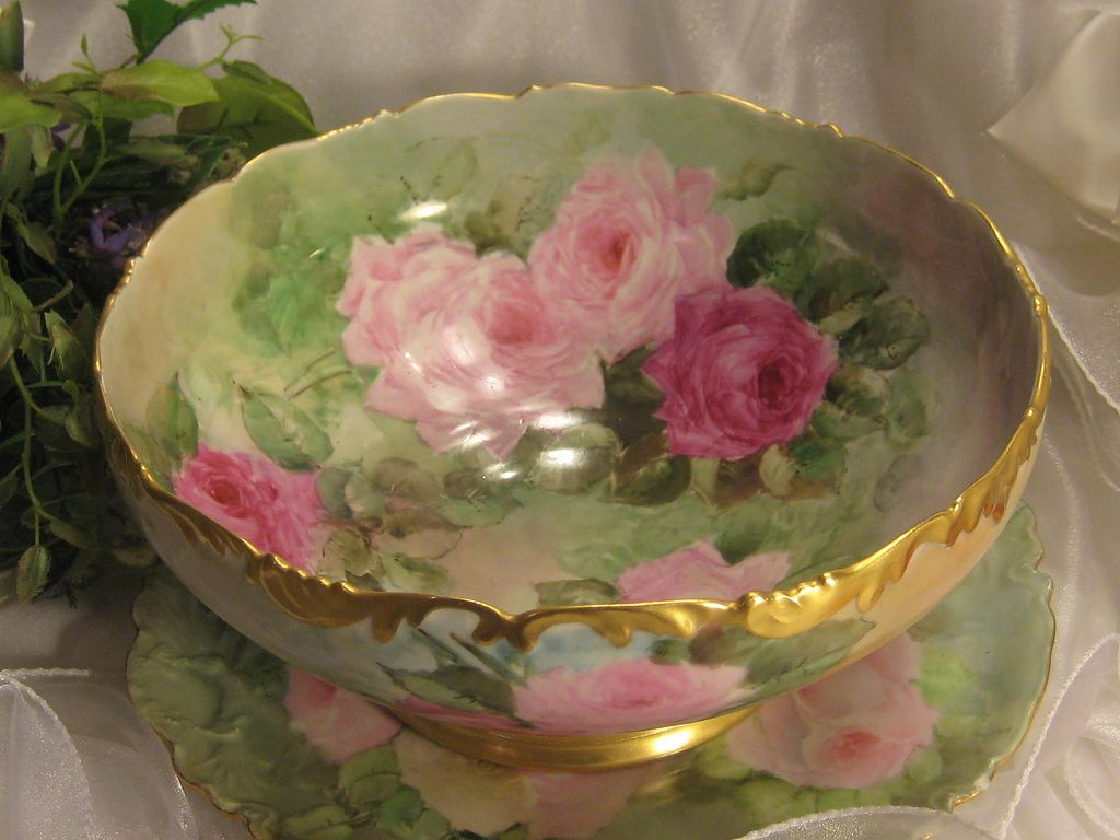 Gorgeous Drop Dead PINK and BURGUNDY Roses Antique Limoges France Hand Painted Punch Bowl Turn-of-the-Century French Victorian Masterpiece Treasure Raised Gold Tressemann & Vogt T&V circa 1900