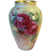 Absolutely Beautiful ~ MAGNIFICENT Limoges France Hand Painted Antique MAMMOTH VASE Gorgeous L