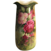 Absolutely Magnificent Antique Limoges France 14 1/2&quot; VASE Roses Exquisite Victorian PINK and BURGUNDY ROSES Hand Painted Turn-of-the-Century Impressive Rare Mold Circa 1900