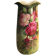"Absolutely Magnificent Antique Limoges France 14 1/2"" VASE Roses Exquisite Victorian PINK"