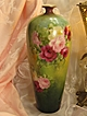 Exquisite Antique T&V Limoges France Vase 14 1/4&quot; Tall Hand Painted Roses Vintage Victorian China Painting of  PINK ROSES Handpainted Floral Art Fine French Porcelain Masterpiece Tressemann and Vogt, circa 1900