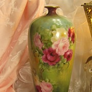 "Exquisite Antique T&V Limoges France Vase 14 1/4"" Tall Hand Painted Roses Vintage Victori"
