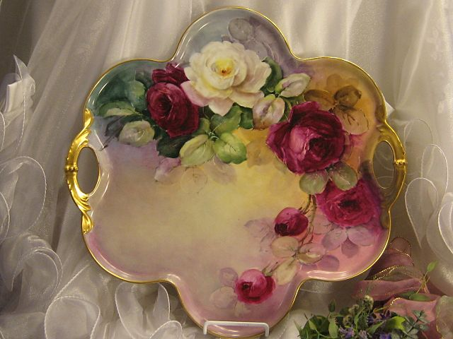 """Absolutely Breathtaking Masterpiece"" Antique Limoges French Rare LARGE SERVING HANDLED TRAY Art Nouveau Hand Painted Superb Burgundy & White Roses ~ Heavy Gold ~ Victorian Heirloom French Tea Service Tray circa 1899"
