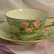 "SOLD ""FRENCH BABY PINK ROSES TEA CUP & SAUCER"" Antique Limoges France Teacup & Sauce"