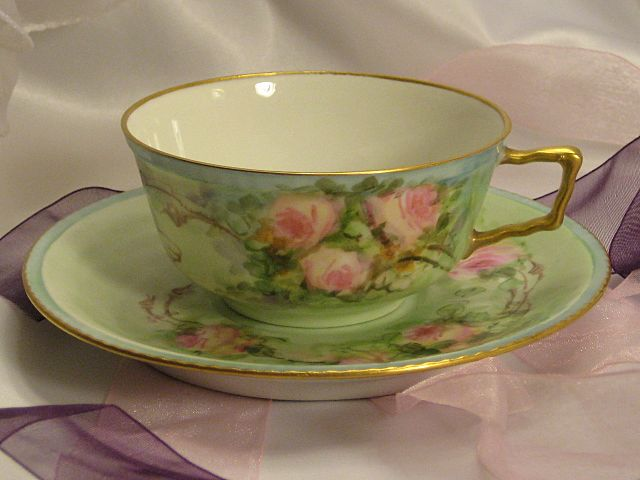 """FRENCH BABY PINK ROSES TEA CUP & SAUCER"" Antique Limoges France Teacup & Saucer Hand Painted Vintage Victorian Floral Art China Painting 19th Century American China Painter Circa 1900"