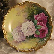 "True Classic Antique Hand Painted Limoges ROSES Plaque Charger French Artist ""B Aubin"""