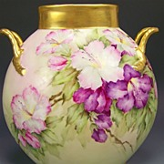 SOLD Absolutely Stunning ~ MAGNIFICENT Limoges France Antique Handled Pillow Vase Hand Painted