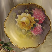 """TRIO OF ROSES"" Antique Limoges France Hand Painted Roses Art Wall Plaque Charger Ar"