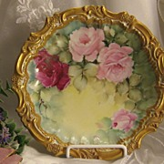 SOLD Classic Limoges French Charger Plaque ~ Gorgeous Victorian Hand Painted Roses on Stunning