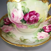 "SOLD Exceptionally Beautiful FRENCH ROSES TEA CUP & SAUCER"" ~ Set FIVE OF SIX ~ Elegant A"