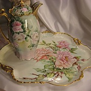 "SOLD ""Absolutely Breathtaking Bouquet of Pink Roses"" Antique Limoges French LARGE SE"