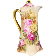 Gorgeous Pink Burgundy Yellow Roses Antique HAVILAND LIMOGES France CHOCOLATE POT Stunning Han