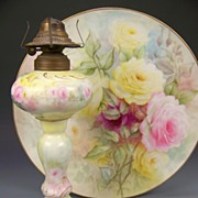 SOLD VERY RARE D&C Limoges France Oil Lamp Turn-of-the-Century Hand Painted ...