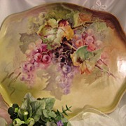 "SOLD ""LUSCIOUS GRAPES"" Large Antique Limoges France Serving Tray Hand Painted Victor"