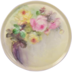 Breathtaking LARGE 16&quot; ROMANTIC TEA ROSES Antique Limoges French Hand Painted Victorian Canvas Art Plaque Tray Charger Tressemann and Vogt T&V circa 1900