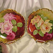 SOLD ~ Breathtaking French Roses Duet ~ Antique Limoges Hand Painted Romantic Pair Artist Sign