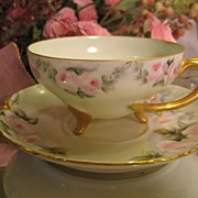 SOLD Exceptional Antique Haviland Limoges France Hand Painted ROSES Cup and Saucer RARE MOLDIN