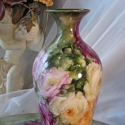 SOLD Absolutely Exquisite Antique American Belleek Hand Painted Vase, Ceramic Arts Company (CA