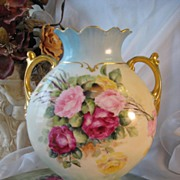 SOLD GORGEOUS TEA ROSES LIMOGES FRANCE VASE Beautiful Antique French Hand Painted Porcelain ..