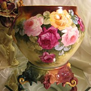 SOLD Beautiful Antique LIMOGES FRANCE JARDINIERE Victorian Hand Painted French Roses ~ with Se
