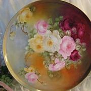 "SOLD ""STUNNING VICTORIAN ROSES� Absolutely Gorgeous Large 15 1/4"" Antique Hand Paint"