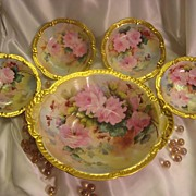 """WHITE and PINK ROSES"" LIMOGES MASTERPIECE Antique Hand Painted Master Berry Bowl Se"