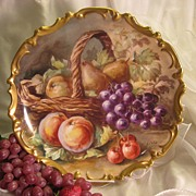 "SOLD Exquisite Vintage Limoges French Antique 13 1/4"" PLAQUE Hand Painted Victorian Still"