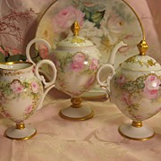 SOLD Gorgeous Limoges French Roses Tea Service ~ Tea Pot Creamer Sugar ~ Hand Painted Pink Ros