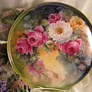 "SOLD ""STUNNING VICTORIAN ROSES"" Absolutely Gorgeous Large 13 1/4"" Antique Hand"