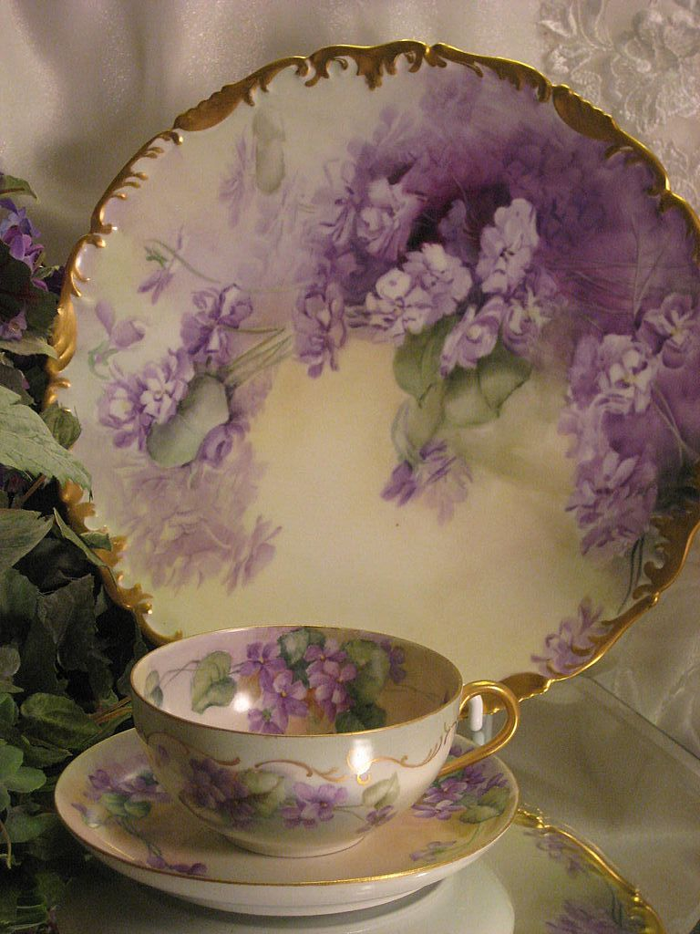 """FRENCH AFRICAN PURPLE VIOLETS TEA CUP & SAUCER"" Antique Limoges France Teacup & Saucer Hand Painted Vintage Victorian Floral Art China Painting 19th Century American China Painter Circa 1900"