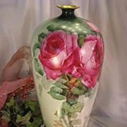 "SOLD Antique Limoges France Vase 14"" Tall Hand Painted Roses Vintage Victorian China Pain"