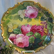 SOLD CLASSIC LIMOGES FRENCH TEA ROSES ANTIQUE PLAQUE by DUVAL Vintage Victorian Floral Art Cha