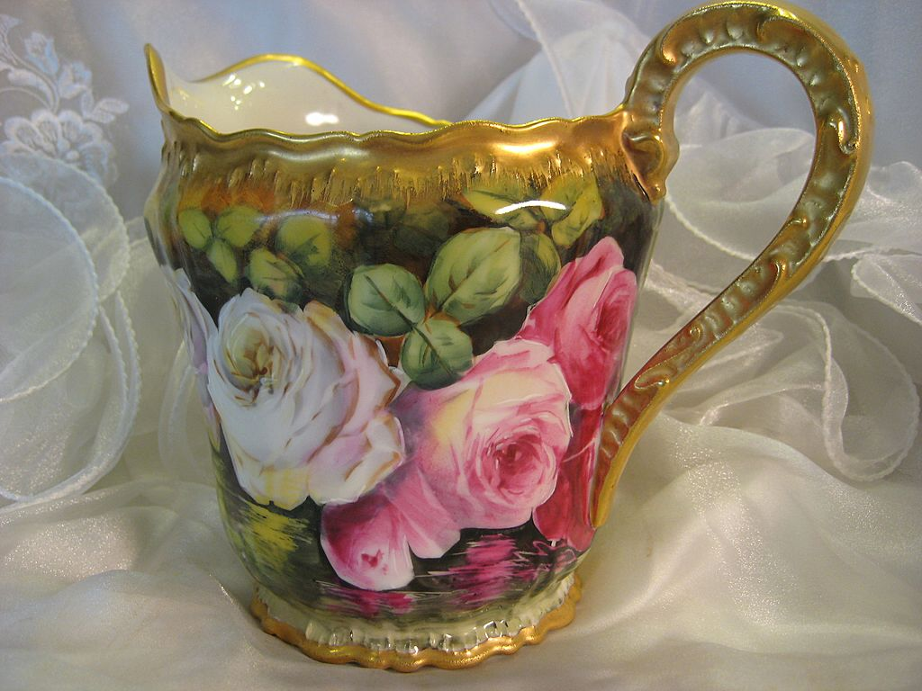 Superb Hand Painted French Limoges Lemonade Cider Pitcher  ~ Stunning Artwork and Porcelain Mold ~ Wonderful Heirloom Treasure ~ Victorian Roses ~ Artist Signed &quot;Louis&quot; Circa 1900