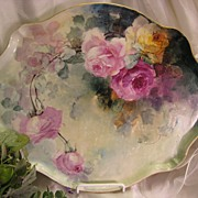 "Gorgeous Limoges France ROSES Hand Painted ""One-of-a-Kind"" Large Dresser Serving Tra"