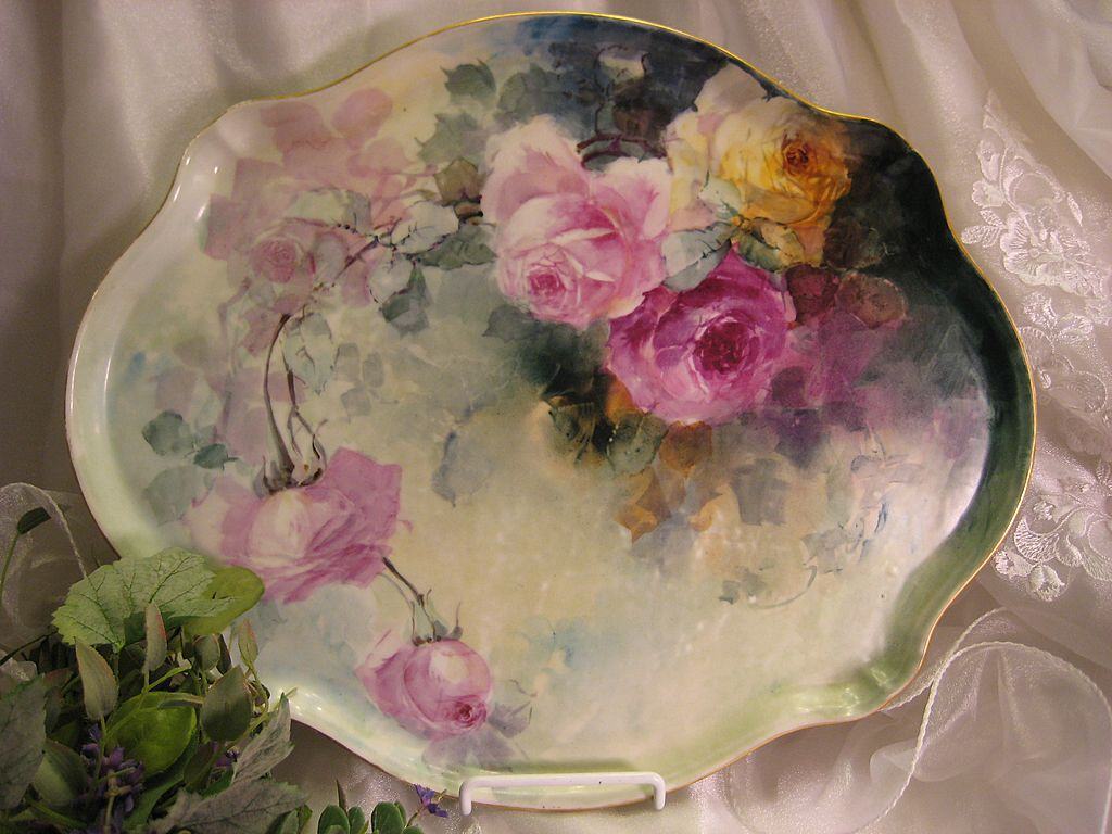 Gorgeous Limoges France ROSES Hand Painted &quot;One-of-a-Kind&quot; Large Dresser Serving Tray Vintage Victorian Floral Art China Painting upon Porcelain French Romantic Handpainted Art Treasure Jean Pouyat circa 1900