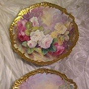 "SOLD Stunning Pair 17 1/2"" Antique Hand Painted Limoges Wall Plaques Chargers ~ Breathtak"